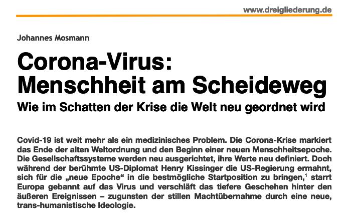 Corona Virus: Menschheit am Scheideweg