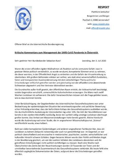 Offener Brief Plattform RESPEKT Seite 1
